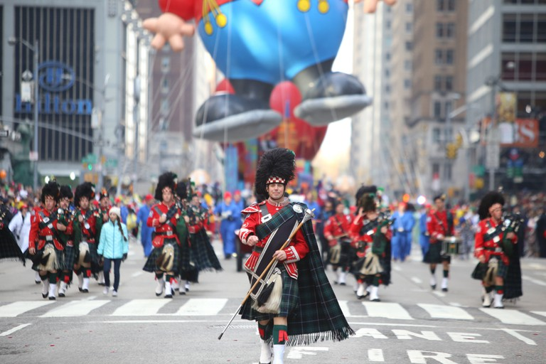 Drum major leads band at the 89th annual Macy's Thanksgiving Day parade attracted hundreds of thousands of spectators in spite of threats of possible terrorist action.