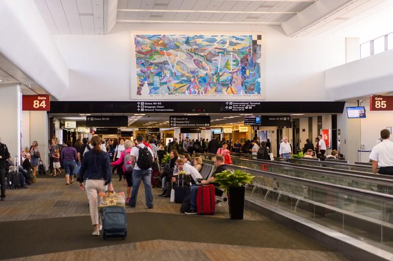 Passengers at San Francisco International Airport, CA, USA.