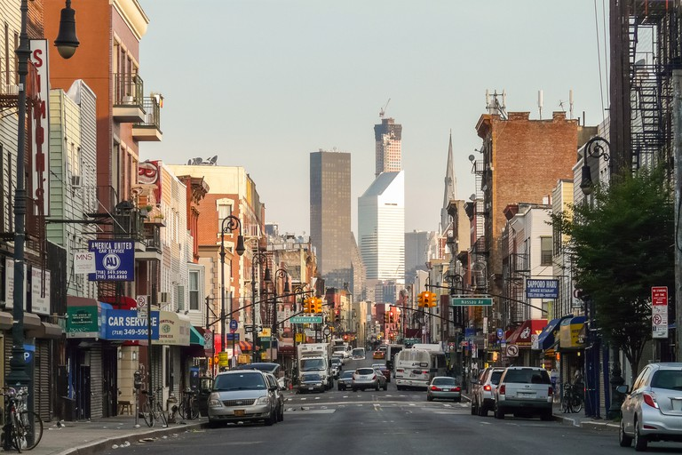 Greenpoint's Manhattan Avenue leads towards –but not to – Manhattan's skyscrapers; the East River lies in between