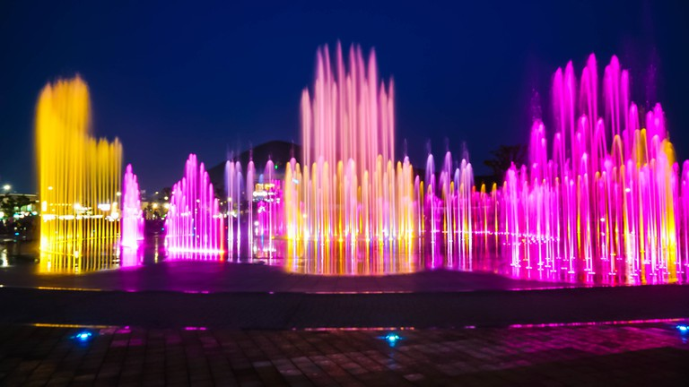 Fountain show with lighting at Dadaepo in Busan, South Korea