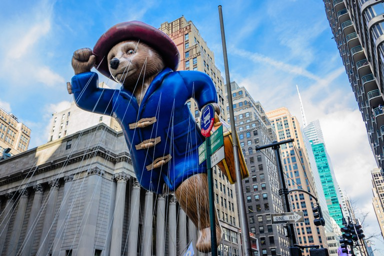 Paddington Bear balloon is flown in Macy's Annual Thanksgiving Day Parade New York.