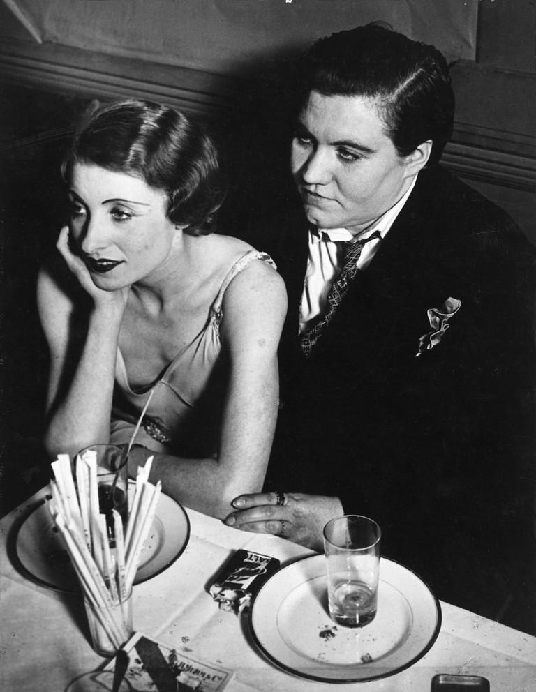 Fat Claude and her girlfriend at Le Monocle, Paris, c.1932