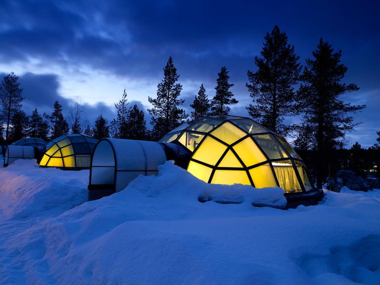 Glass Igloos in Lapland, Finland.