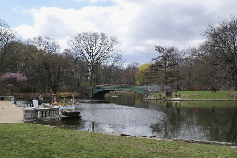 Bridge across a lake in Prospect Park, Brooklyn, NY.