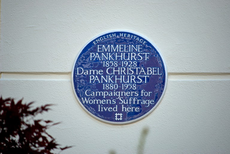 This blue plaque marks the former Notting Hill home of women's suffrage campaigners Emmeline and Christabel Pankhurst