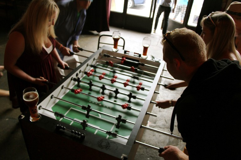 Foosball at Berry Park in Williamsburg, Brooklyn, New York.