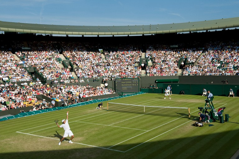 General view of play on court 1 during the Wimbledon Tennis Championships 2010