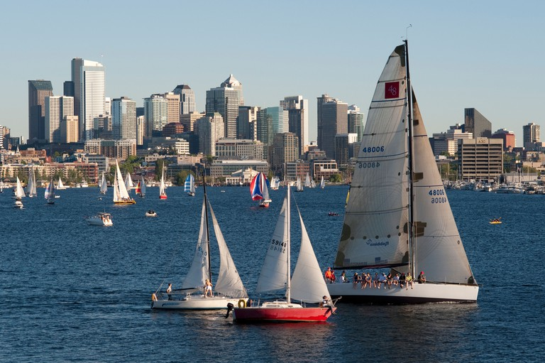 Sailboat races on Lake Union, Seattle