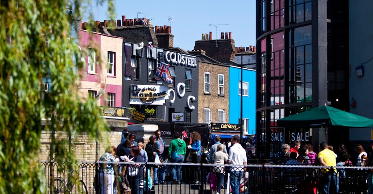 Camden High Street is lined with cafés and restaurants