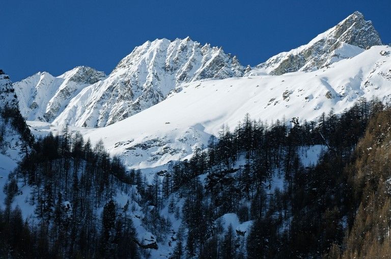 Aiguille Rouges d' Arolla covered in snow in winter