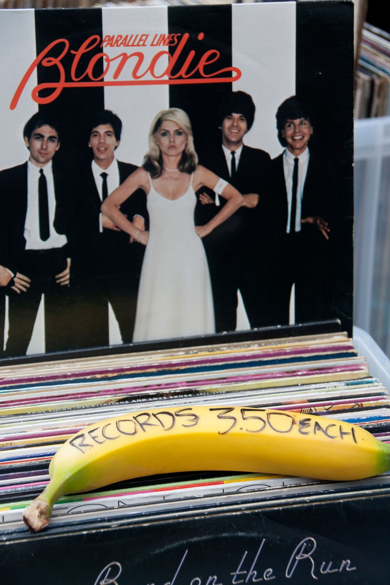Vinyl LPs for sale at record stall in Camden Market with price written on banana. Image shot 2011. Exact date unknown.