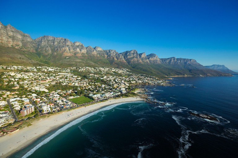 Aerial view of Camps Bay, Cape Town, South Africa.