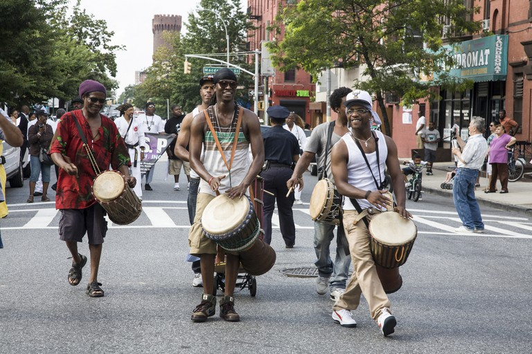 Participants in the annual Universal Hip Hop Parade in the Bedford Stuyvesant neighborhood of Brooklyn, NY.