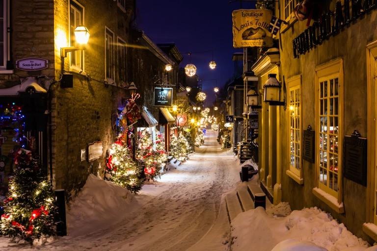 Rue du Petit Champlain during Christmas, Lower Town, Quebec City, Canada.