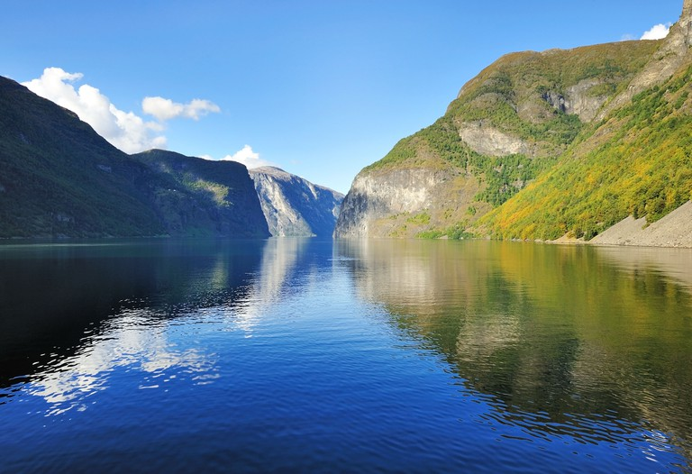 Scenic view of Fjord in Norway, scenic view along the cruise trip from Flam.