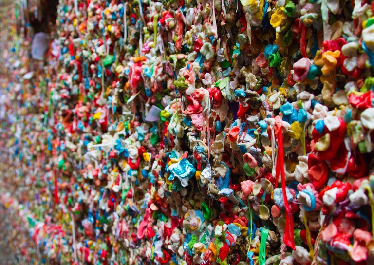 Close-up of gum wall in Seattle