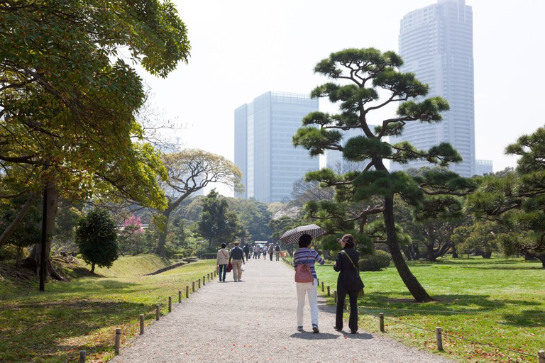 Hamarikyu Gardens with Shiodome district skyscrapers in the background