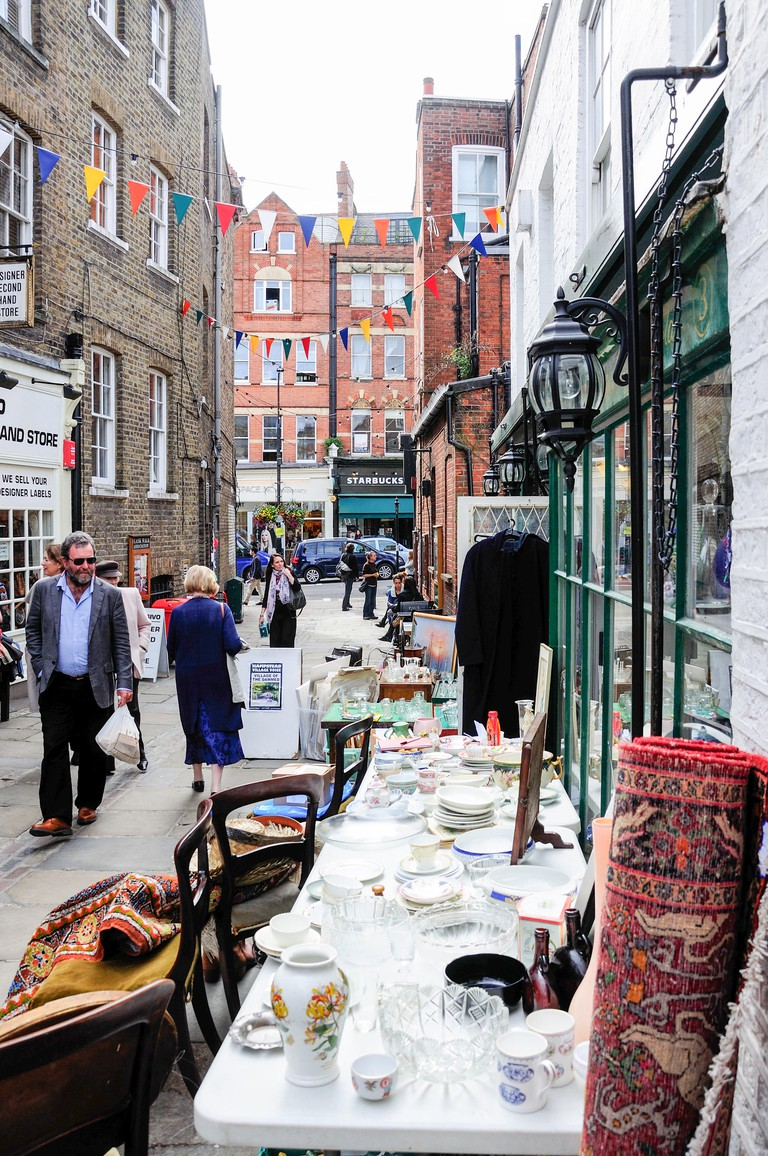 Antique shops, Flask Walk, Hampstead, London Borough of Camden, Greater London, England, United Kingdom