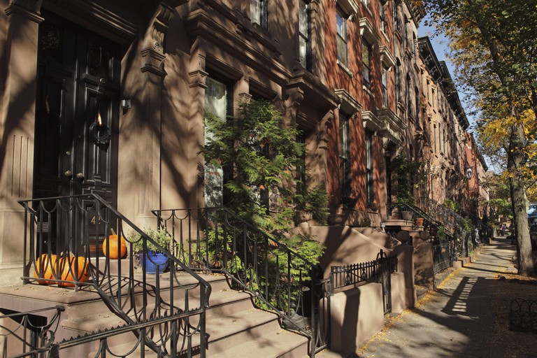 Brownstone townhouses along Garden Place in the Historic District of Brooklyn Heights.