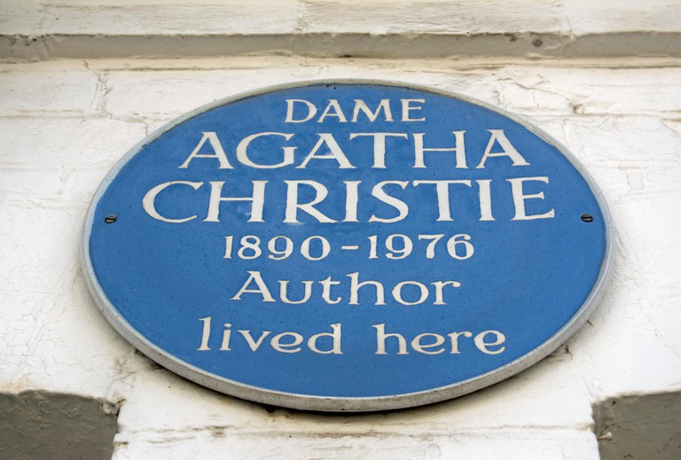 This blue plaque marks a former home of author Agatha Christie in Cresswell Place, Kensington, London