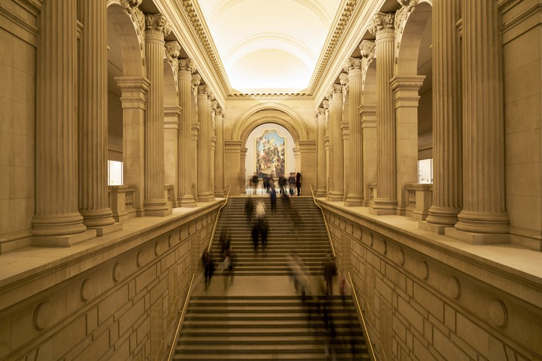 The main stairway entrance of the Metropolitan Museum of Art. New York