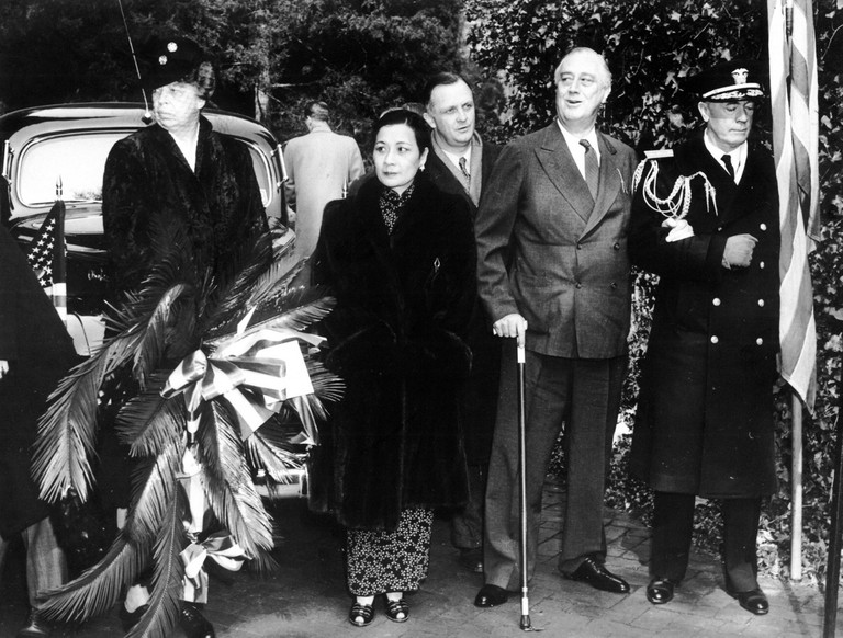 Eleanor and Franklin Roosevelt receive Soong Mei-ling or Soong May-ling, also known as Madame Chiang Kai-shek in 1943