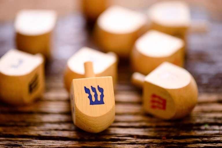 Arrangement of Jewish dreidels for Hanukkah.