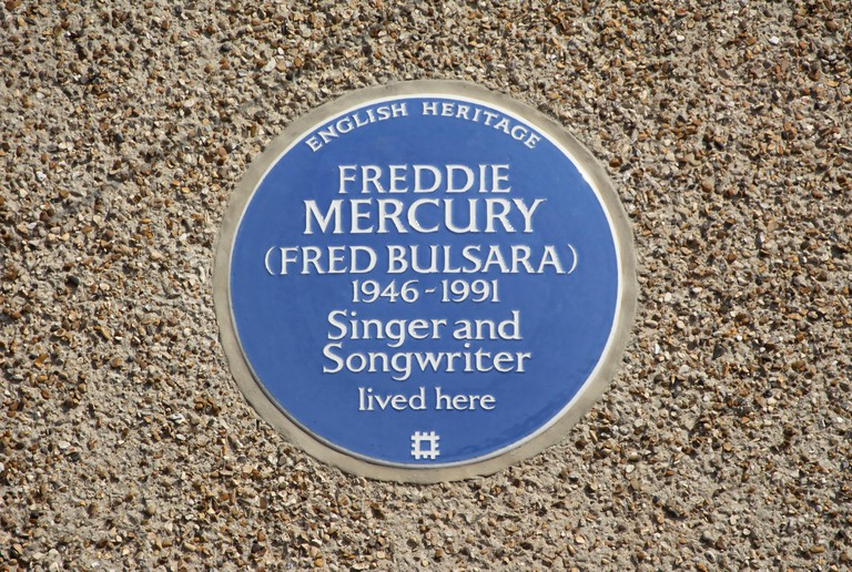 Singer and songwriter Freddie Mercury has a plaque dedicated to him in Feltham, Middlesex