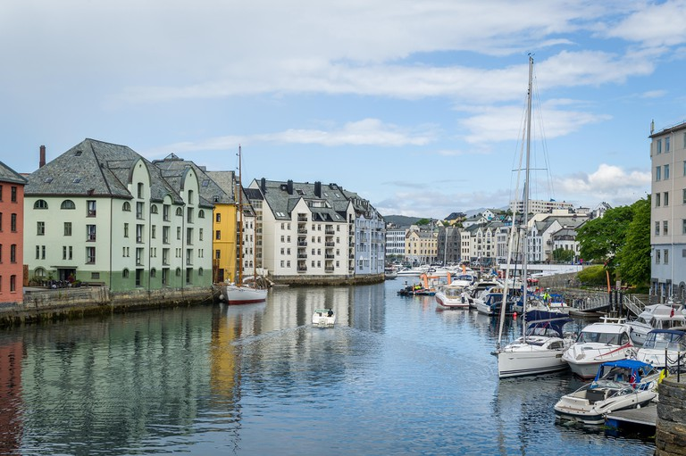 River and boats at Alesund, Norway.