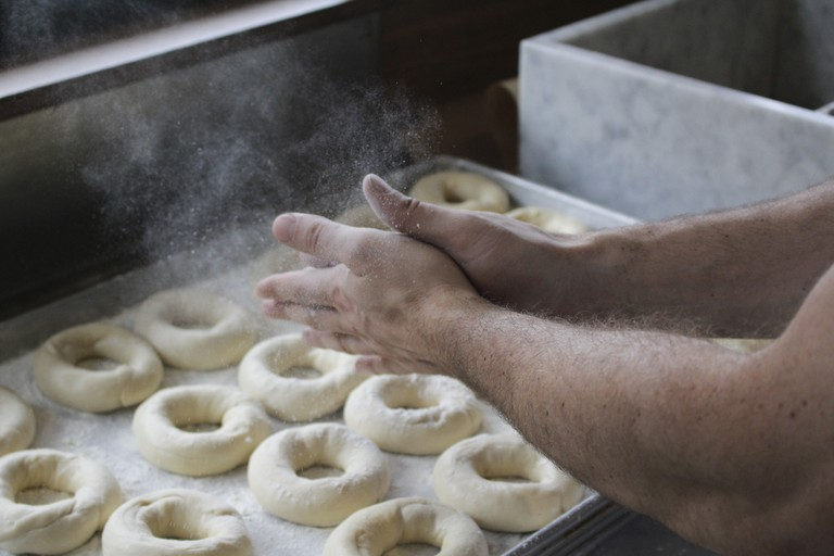 Hand rolled bagels.