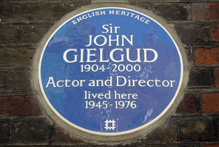 The blue plaque for actor and director Sir John Gielgud can be seen in Westminster, London