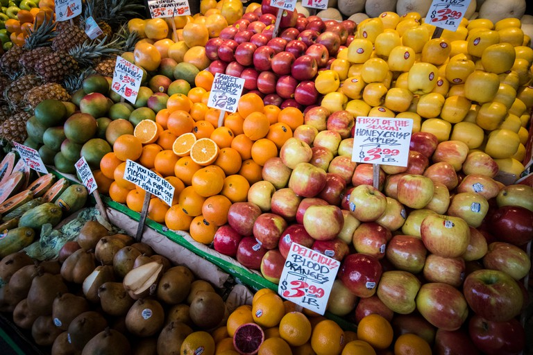 Fresh fruit on display at Pikes Place Market, in Seattle, WA