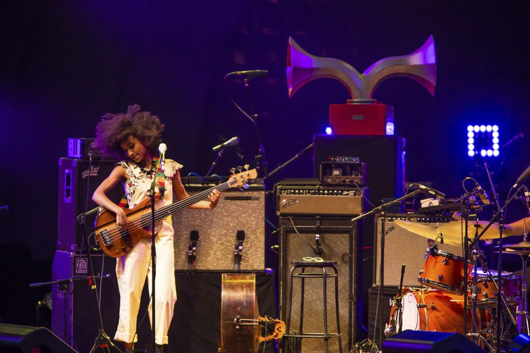 A crowd estimated at 9,000 filled the Prospect Park Bandshell, with an estimated 3,000 outside the fence, for a concert by Esperanza Spalding and Andrew Bird at the BRIC Celebrate Brooklyn! Festival in 2017.