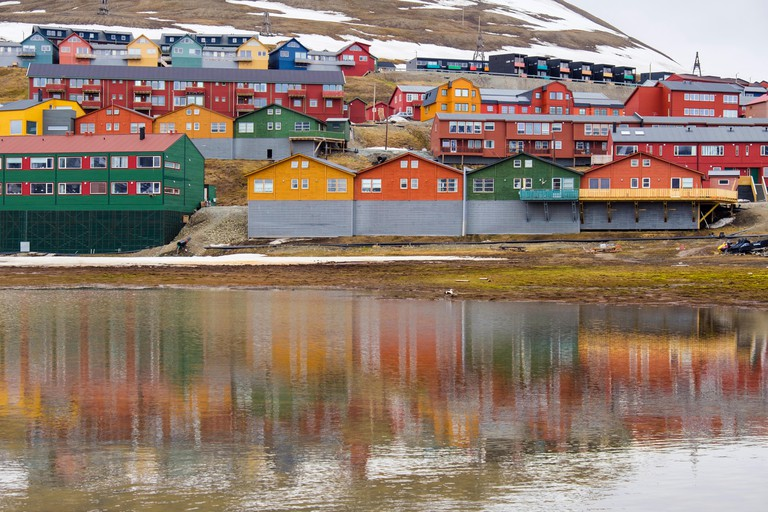 Colourful residential houses in town of Longyearbyen, Spitsbergen Island, Norway.