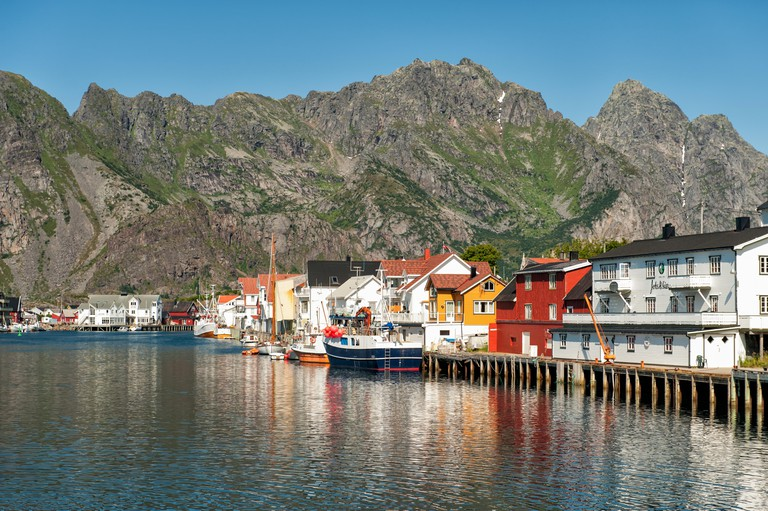 The harbour during summer in Henninsvaer, Norway.