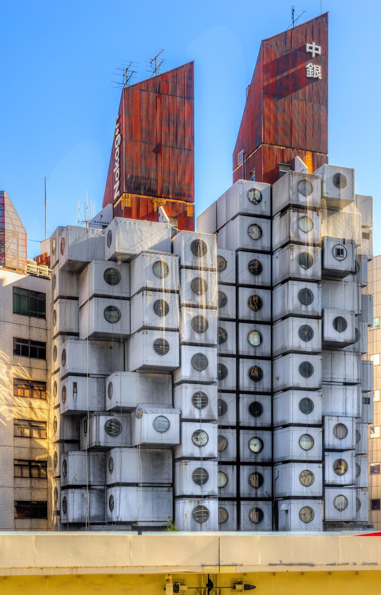 Residential and office capsule tower in Tokyo, Japan.