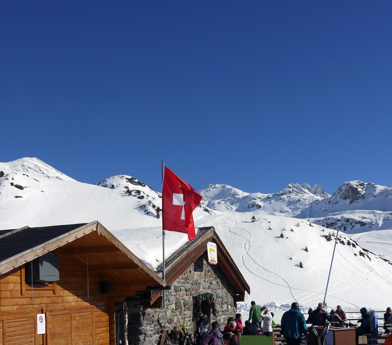 The swiss ski and snow resort of St Luc and Chandolin in the Valais region of Switzerland