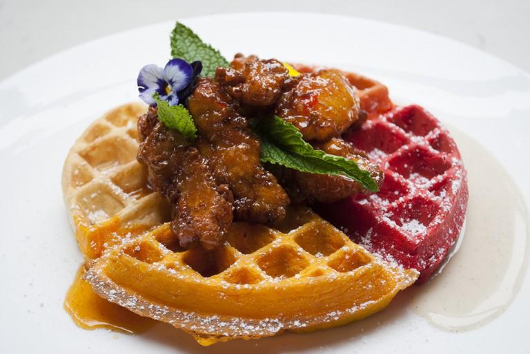 Masala Fried Chicken and Technicolor Waffles, Babu Ji, New York.