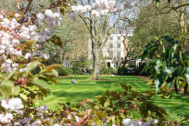 Garden in spring, Eaton Square, Belgravia, City of Westminster, Greater London, England, United Kingdom