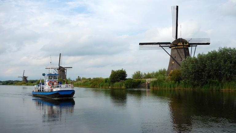 A boat approaching Kinderdijk