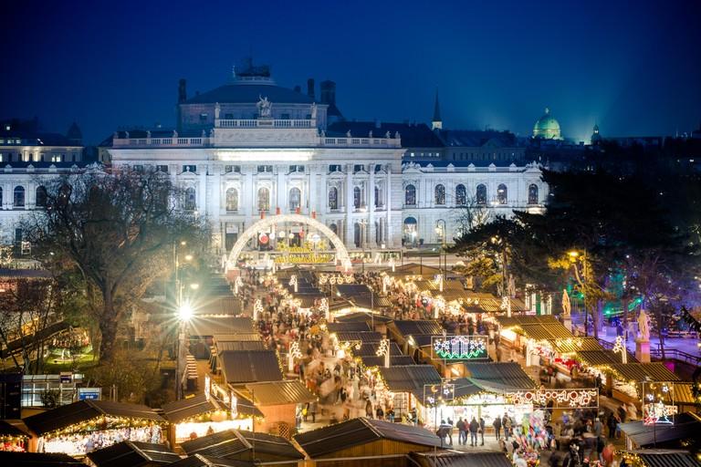 Traditional Christmas Market in Vienna, Austria.