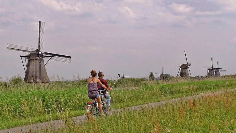 Visitors can cycle around large parts of Kinderdijk