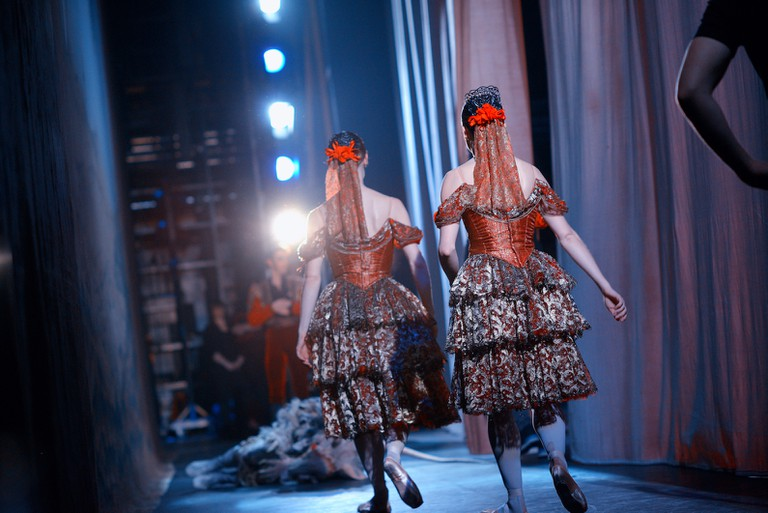 Two of the Spanish dancers backstage