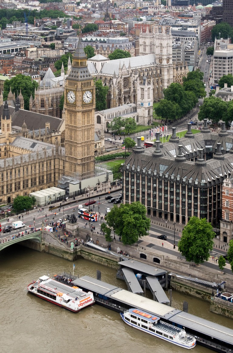 Blick uber die Themse auf Big Ben und Westminster Abbey