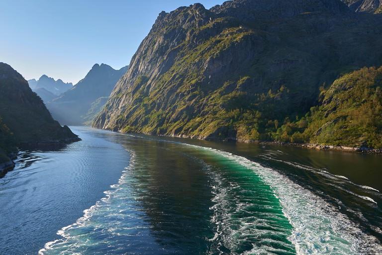 Looking West Towards The End Of The Trollfjord (Trollfjorden), Lofoten Islands, Norway.