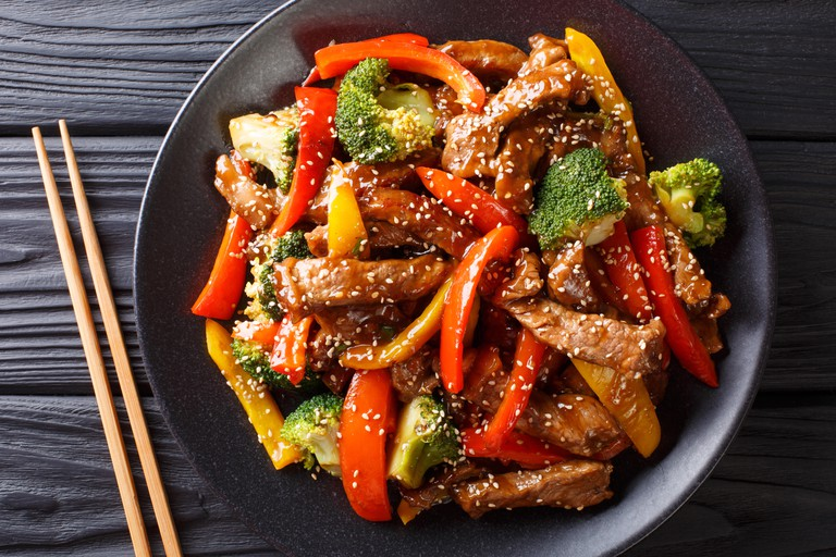 Asian teriyaki beef with bell pepper