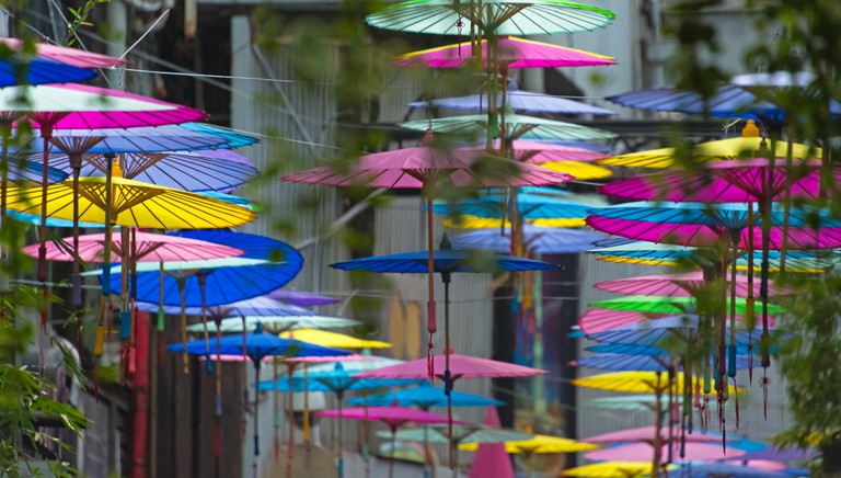 Umbrella decoration in Tianzifang, an arts and crafts enclave in the French Concession area, Shanghai, China
