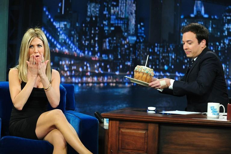 Jennifer Aniston and Jimmy Fallon on 'Late Night With Jimmy Fallon' in 2011