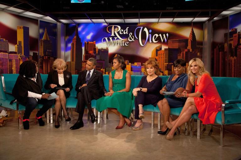 Whoopi Goldberg, Barbara Walters, President Barack Obama, First Lady Michelle Obama, Joy Behar, Sherri Shepherd and Elisabeth Hasselbeck on 'The View' in 2012