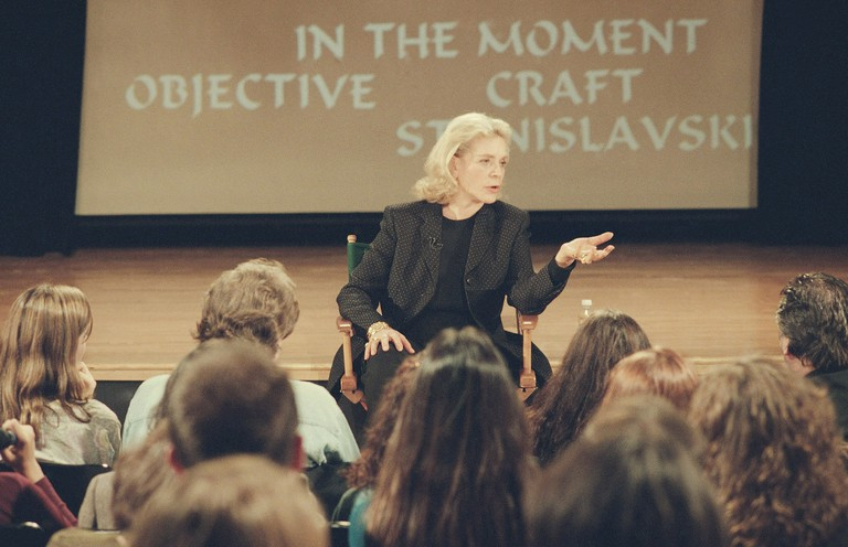 "Actress Lauren Bacall taslks with Actors Studio students during a special workshop that was videotaped at New York's New School for Social Research as part of the popular ""Inside the Actors Studio"" series on the Bravo cable network."